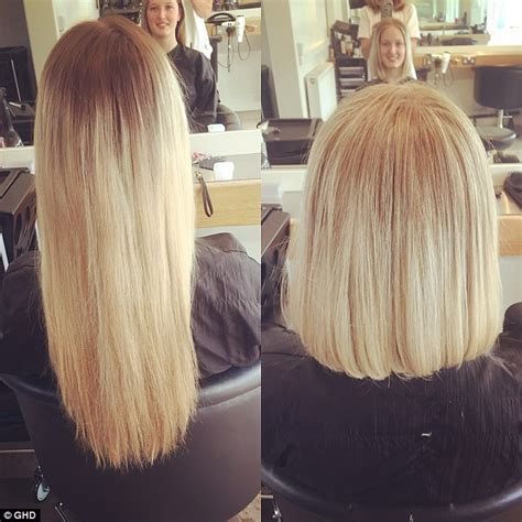 cut and inch off hair amber le bon chops long hair for charity daily mail online