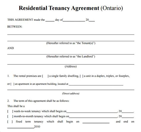 residential tenancy agreement template printable lease agreement 15 documents for