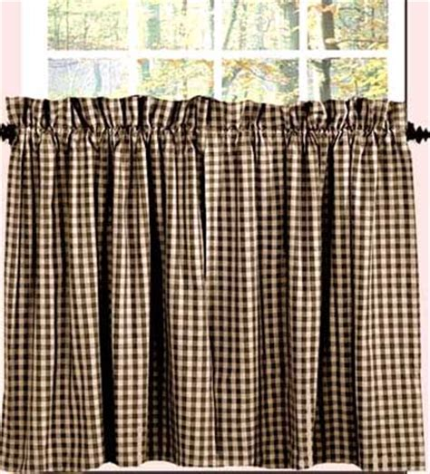 24 inch cafe curtains heritage house check 24 inch tier black the weed patch