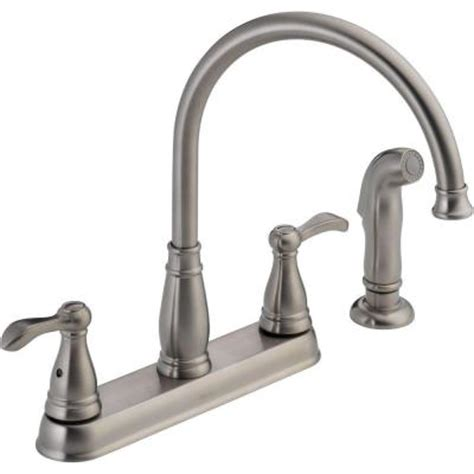 home depot delta kitchen faucets delta porter 2 handle side sprayer kitchen faucet in stainless 21984lf ss the home depot