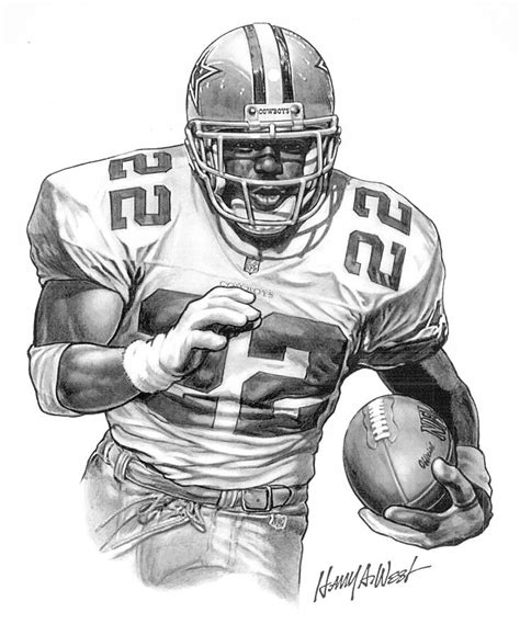 Emmitt Smith Drawing by Harry West