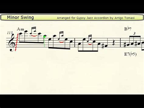 minor swing score minor swing jazz accordion sheet chords