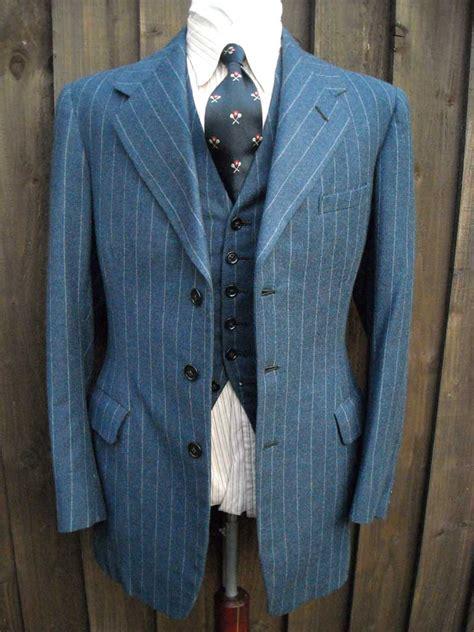 Drape Ties Raf Blue 1930s British Flannel 3 Piece Suit Baron