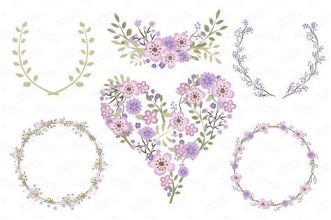 Border Wedding Amanda by Clara Vintage Floral Wedding Clipart In Lavender By