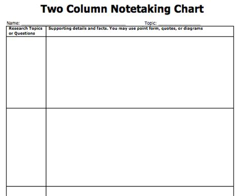 two column notes template note taking templates copy paste and type directy into