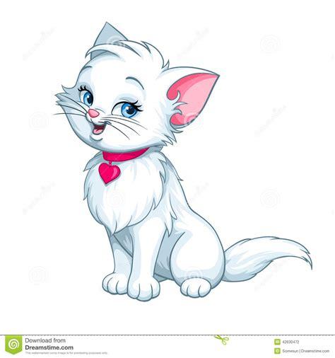 cartoon white vector cartoon fun cute white kitten happy stock vector