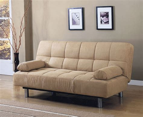 Microfiber Futon Sofa Bed by Futon Sofa Bed Beige Microfiber Adjustable Pillows