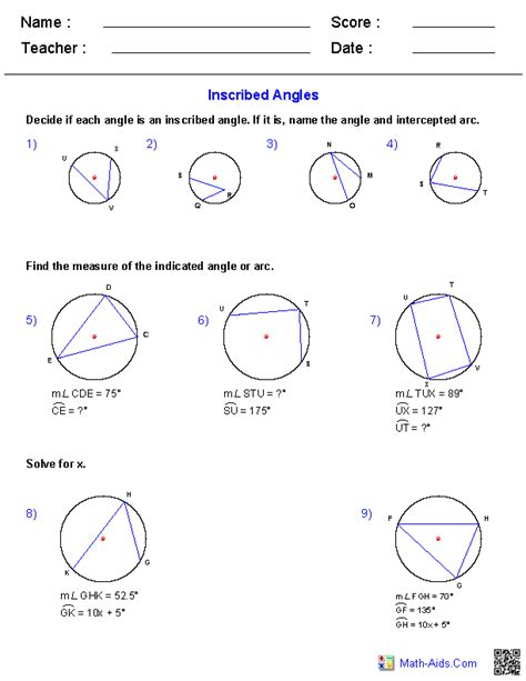 Inscribed Angles Worksheet Answers by Geometry Worksheets Angles Worksheets For Practice And Study