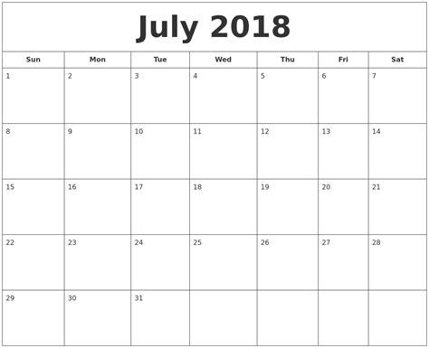 Calendar July 2018 July 2018 Printable Calendar