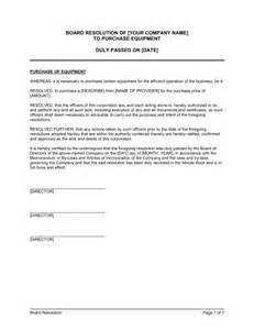 board resolution template uk board resolution to purchase equipment template sle