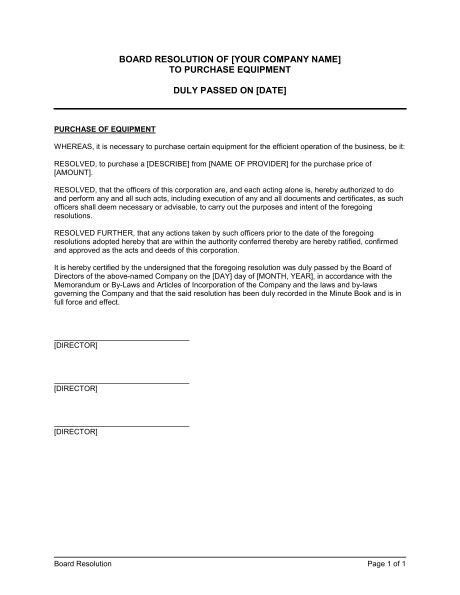 board resolution  purchase equipment template word   business   box