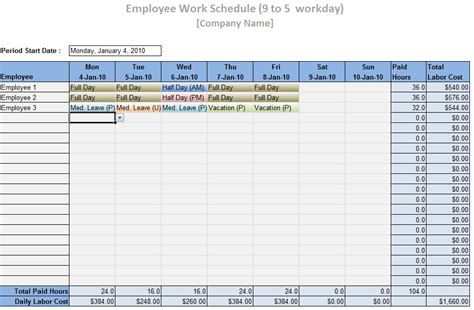 employee work schedule template word excel