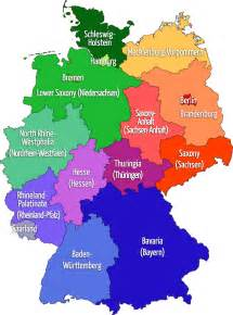Germany On The Map by Map Of Germany 16 States With Both German English Names