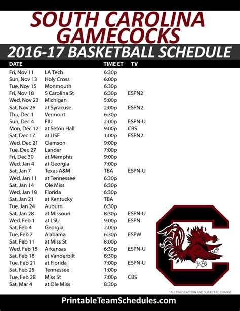printable unc basketball schedule 25 best ideas about gamecock basketball on pinterest