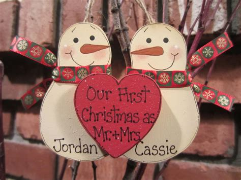 diy ornaments for newlyweds personalized snowmen ornament our as