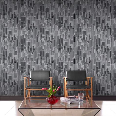 rasch wallpaper rasch new york nyc skyline metallic embossed wallpaper 795110