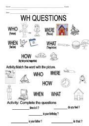 wh questions worksheet by natsalvador