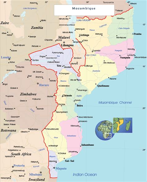 map of mozambique cities mozambique map cities