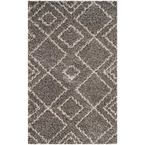area rugs az safavieh arizona shag brown ivory 3 ft x 5 ft area rug asg744b 3 the home depot