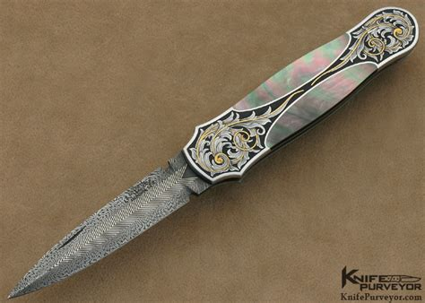 Tom Handcrafted Knives - tom overeynder engraved blacklip lockback dagger