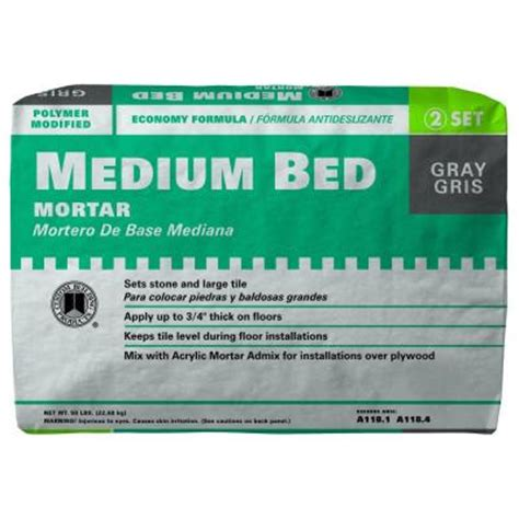 custom building products medium bed gray 50 lb mortar