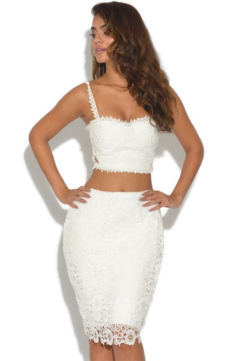 Back Set Topskirt Size Ml vestry luxe white lace 2 crop top and bandage skirt set at vestry