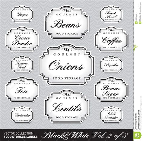 Ornate Food Storage Labels Vol2 Vector Stock Vector Image 19010648 Storage Label Templates