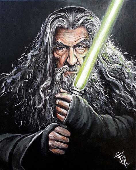 Modern Duvet Cover King Jedi Master Gandalf Painting By Tom Carlton