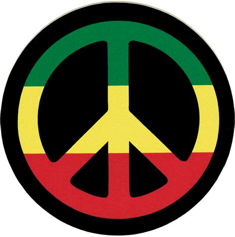 peace colors peace sign rasta colors small bumper sticker decal