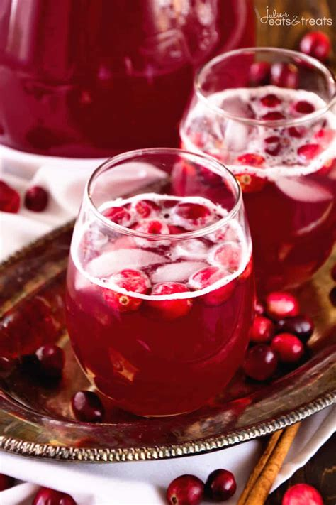 christmas glow punch recipe spiced cranberry punch recipe julie s eats treats