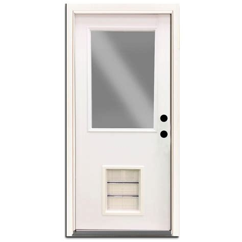 Exterior Door With Pet Door Steves Sons 30 In X 80 In Premium Half Lite Primed White Steel Prehung Front Door With Large