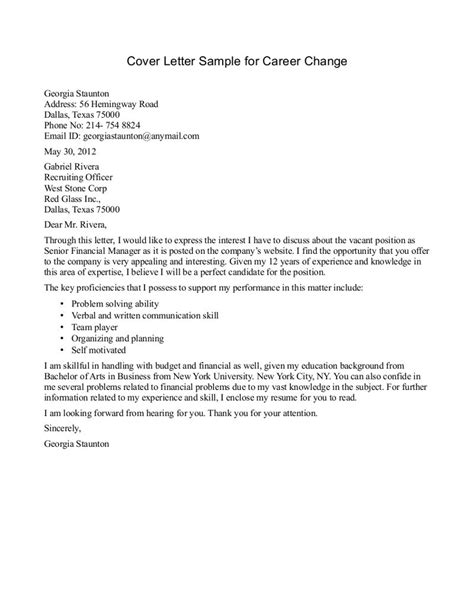 Sle Cover Letter Change Of Career by Sle Cover Letter For Career Change Position Cover