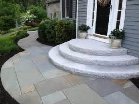 Round Orange Rugs Curving Bluestone Walkway With Radius Granite Steps