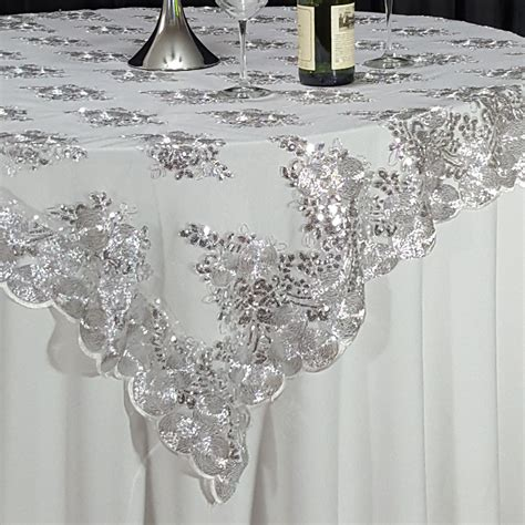 silver lace table overlay silver swirl sequin lace 72 quot x 72 quot overlay