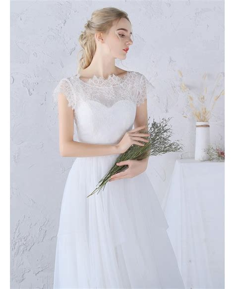 wedding dresses with sleeves long lace cap sleeve bhldn modest boho beach wedding dress high lace neckline long