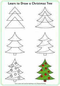 learn to draw a christmas tree for christmas activity book