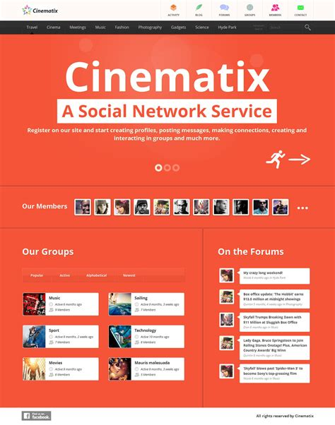 social networking templates cinematix social network template by wpthemes on deviantart