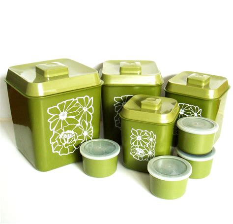 Green Kitchen Canisters Sets by 1970s Avocado Green Canister Set Retro Kitchen Canisters With
