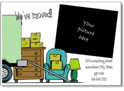 we moved cards templates printable moving announcements add a photo change of