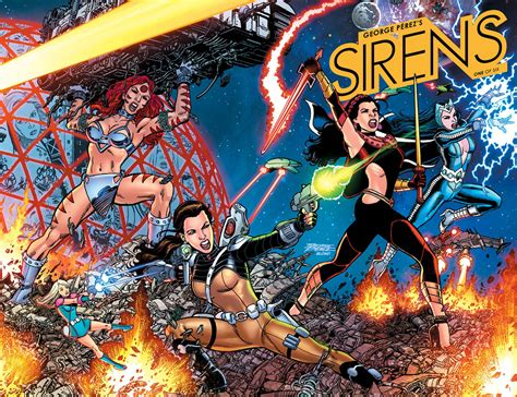 george perez s sirens books george perez sirens comic to boom studios the escapist