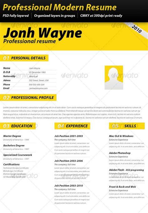 professional modern resume resume design pinterest
