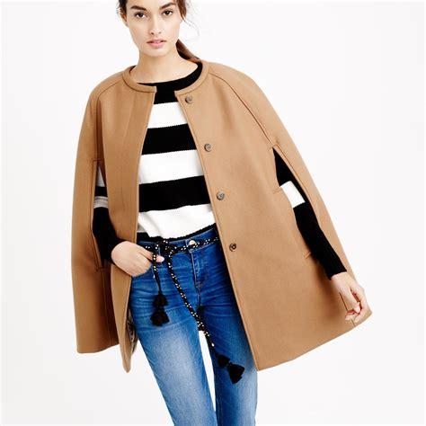 J Crew j crew cape jacket in wool melton in brown warm camel lyst