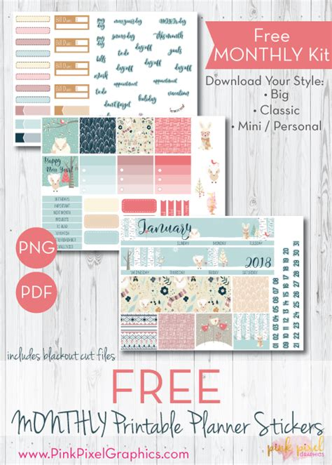 printable planner kits january 2018 monthly free planner stickers print and cut