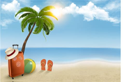 summer beach vacation background vector  vector graphic