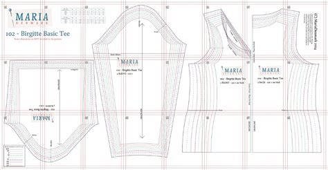 shirt pattern layout 102 birgitte basic tee mariadenmark sewing