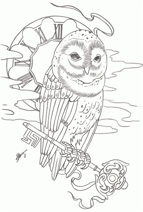 owl outline tattoo designs 40 awesome owl clock tattoos
