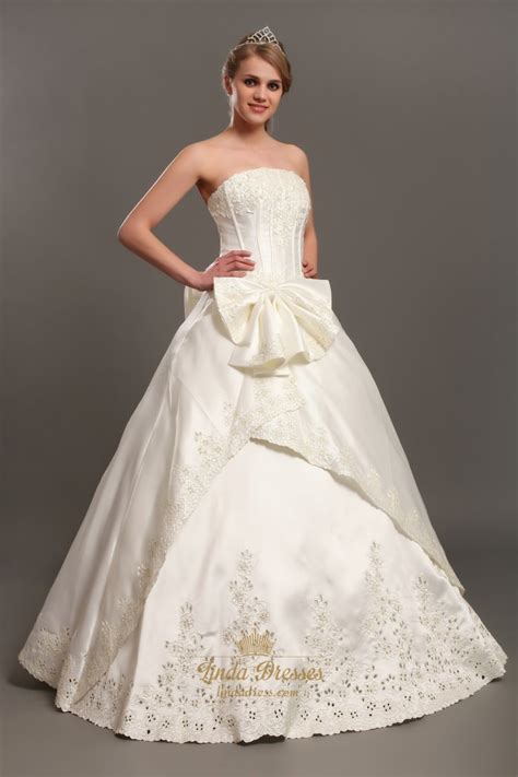 appliques for dresses ivory a line satin strapless wedding dresses with lace