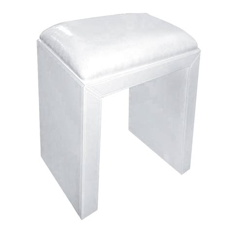 glass dressing table stool in white by out there interiors