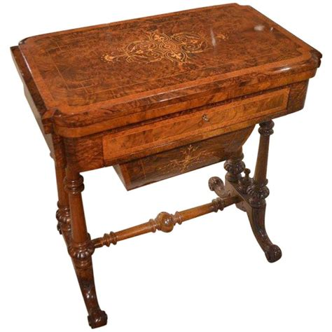 Vintage Sewing Table by Burr Walnut Inlaid Period Antique Or