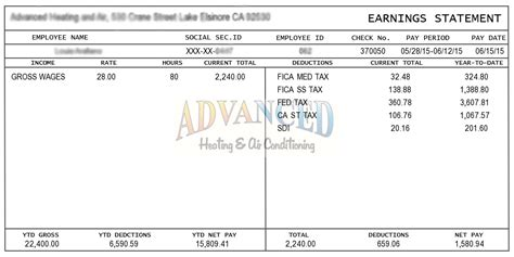 Pay Stub Exle Template Business Quickbooks Check Stub Template